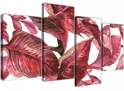 Large Dark Burgundy Red White Tropical Leaves Canvas Wall Art - Multi 4 Panel - 4321