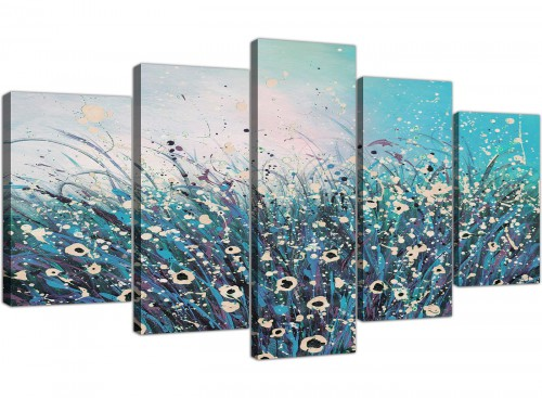 extra large teal floral canvas pictures 5260