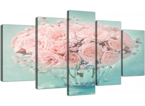 cheap extra large duck egg blue and pink roses flower floral canvas multi 5 panel 5287 for your living room