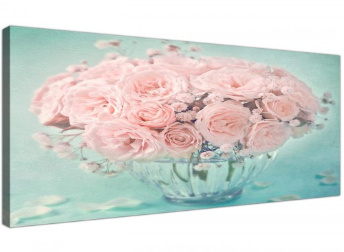 cheap duck egg blue and pink roses flower floral canvas modern 120cm wide 1287 for your living room