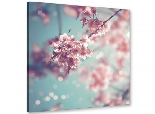 cheap duck egg blue pink shabby chic blossom floral canvas modern 64cm square 1s280m for your bedroom