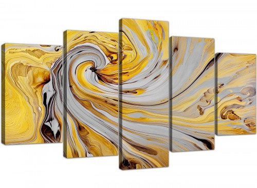 cheap extra large yellow and grey spiral swirl abstract canvas multi 5 piece 5290 for your bedroom