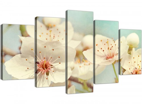 cheap extra large japanese cherry blossom duck egg blue white floral canvas multi 5 panel 5289 for your bedroom