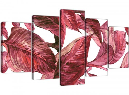 Extra Large Dark Burgundy Red White Tropical Leaves Canvas Wall Art - Multi 5 Part - 5321
