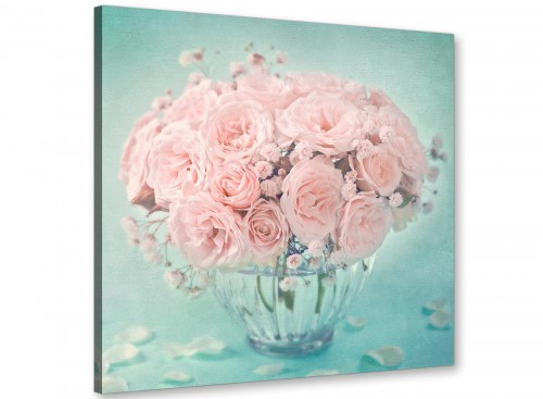 cheap duck egg blue and pink roses flower floral canvas modern 64cm square 1s287m for your living room