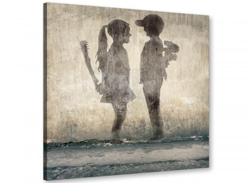 cheap banksy boy meets girl graffiti banksy canvas modern 49cm square 1s291s for your living room