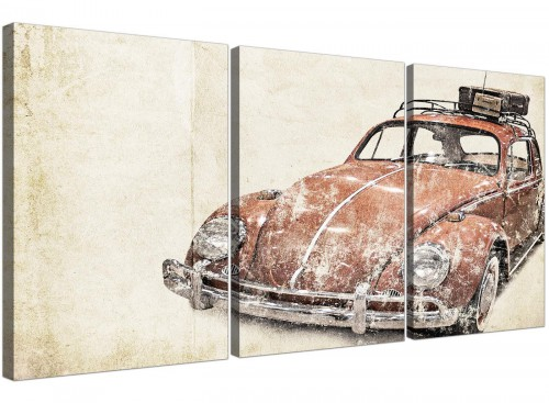 cheap vw beetle bug rat look surfer brown volkswagen lifestyle canvas split triptych 3279 for your office