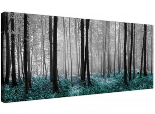 Teal Black White Woodlands