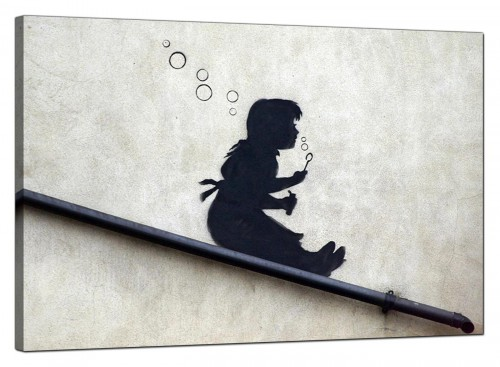 Banksy Canvas Pictures - Bubble Girl on a Drainpipe Slide - Urban Art
