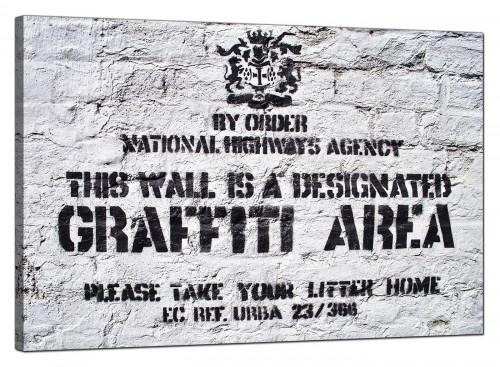 Banksy Canvas Pictures - Designated Graffiti Area - Urban Art