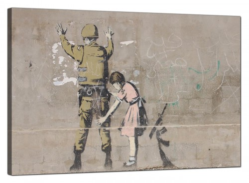 Banksy Canvas Pictures - Girl Child Frisks a Soldier - Urban Art
