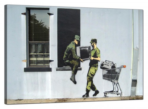 Banksy Canvas Pictures - Looting Soldiers Stealing a Television Through a Window - Urban Art