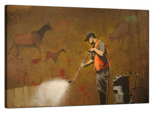 Banksy Canvas Pictures - Man Cleaning and Removing a Prehistoric Cave Painting - Urban Art