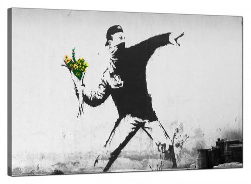Banksy Canvas Pictures - Rage Man Throwing Flowers - Urban Art