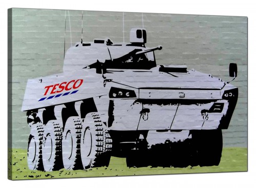Banksy Canvas Pictures - Tesco Tank Eight Wheel Armoured Car - Urban Art