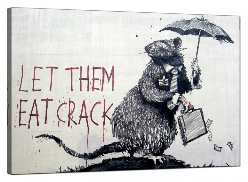 Banksy Canvas Pictures - Wall Street Rat Banker Let Them Eat Crack - Urban Art