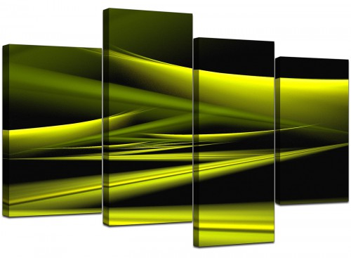 4 Panel Set of Living-Room Lime Green Canvas Prints