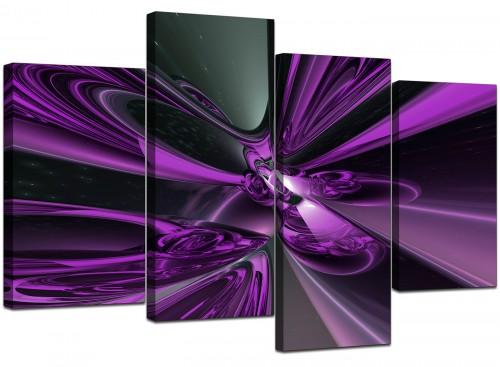 Four Part Set of Modern Purple Canvas Prints