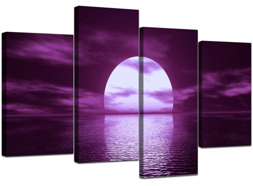 Set Of 4 Modern Purple Canvas Prints