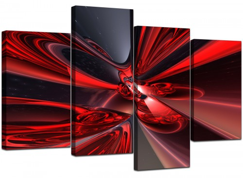 4 Piece Set of Modern Red Canvas Art