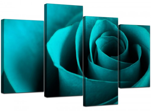 4 Piece Set of Modern Turquoise Canvas Wall Art