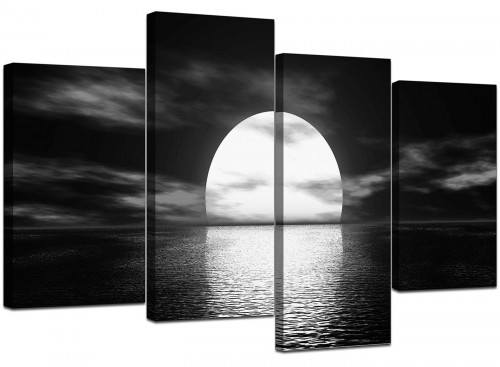 4 Panel Set of Modern Black White Canvas Art