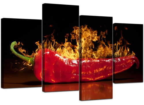 Set Of 4 Modern Red Canvas Prints