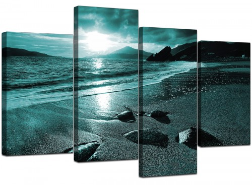 Set Of 4 Living-Room Teal Canvas Wall Art