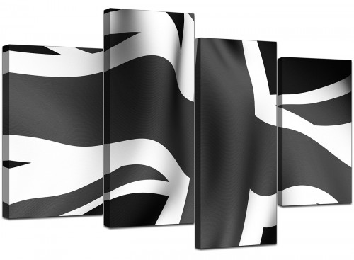 Four Panel Set of Extra-Large Black White Canvas Art