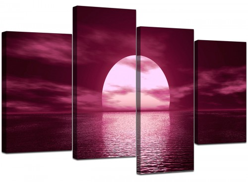 4 Part Set of Extra-Large Plum Canvas Pictures