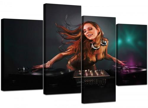 4 Panel Set of Modern Teal Canvas Prints