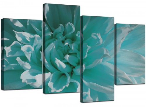 4 Part Set of Cheap Teal Canvas Art