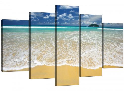 Set Of Five Modern Blue Canvas Wall Art