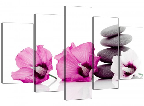 Set Of 5 Modern Pink Canvas Picture