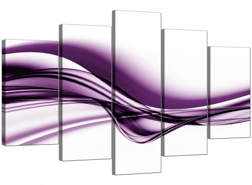 5 Part Set of Extra-Large Purple Canvas Wall Art