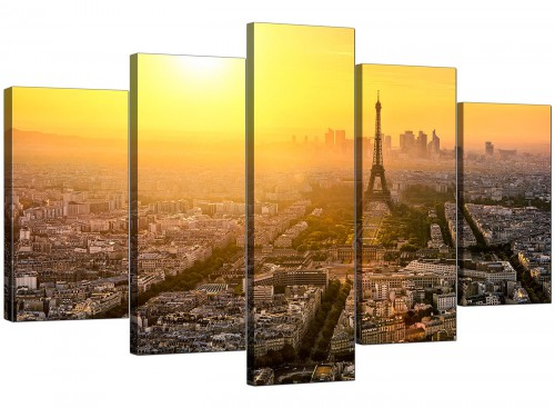 Five Panel Set of Living-Room Yellow Canvas Wall Art