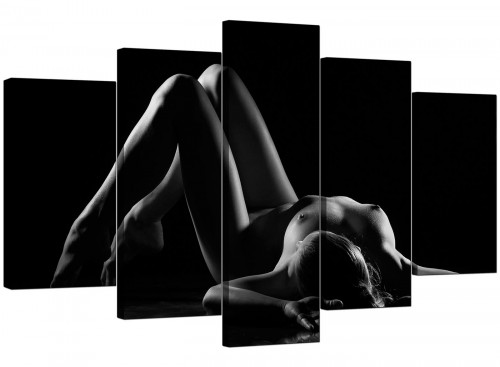 Set Of Five Modern Black White Canvas Pictures