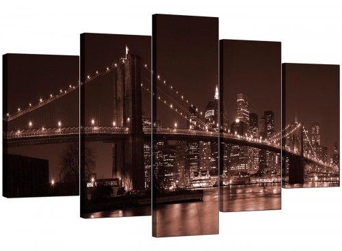 5 Part Set of Living-Room Brown Canvas Pictures