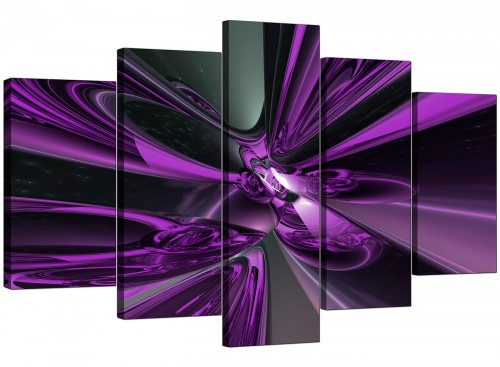 5 Piece Set of Living-Room Purple Canvas Prints