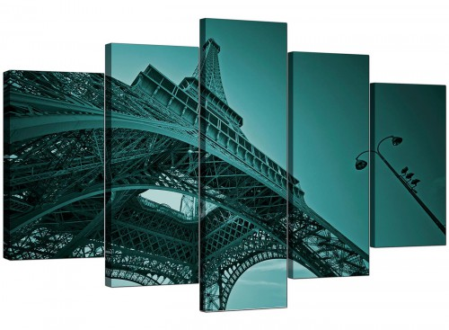 Five Part Set of Living-Room Teal Canvas Art
