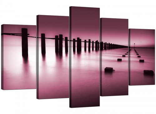 Set Of Five Living-Room Plum Canvas Art