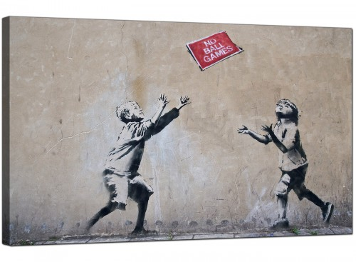 Banksy Canvas Pictures - Children Playing With No Ball Games Sign - Urban Art