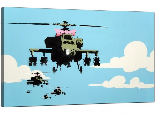 Banksy Canvas Pictures - Happy Choppers Pink Ribbon Helicopter Gunships - Urban Art