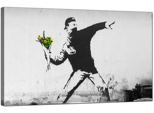 Banksy Canvas Pictures - Rage Man Throwing Flowers - Urban Art