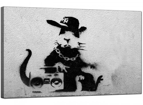 Banksy Canvas Pictures - Rat Wearing a Baseball Cap with a Boombox Stereo - Urban Art