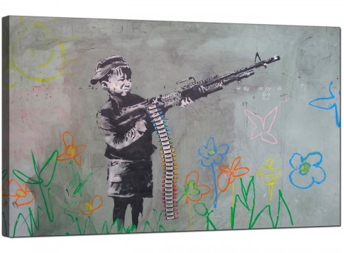 Banksy Canvas Pictures - The Crayola Shooter Boy with Crayon Machine Gun - Urban Art