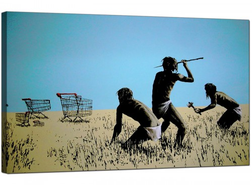Banksy Canvas Pictures - Tribal People Hunting Shopping Trolleys with Spears - Urban Art