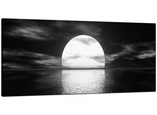 Black-White Modern Panoramic Canvas of Landscape