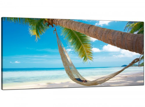 Blue Bedroom Panoramic Canvas of Beach