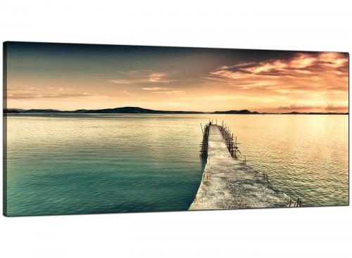 Blue Modern Extra Large Canvas of Sunrise Sunset Landscape